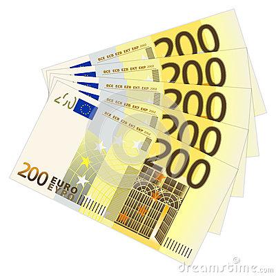 Two hundred euro banknotes