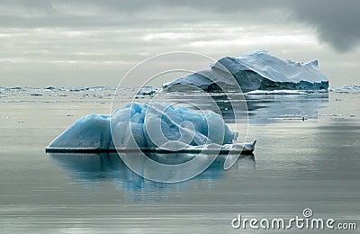 Two icebergs
