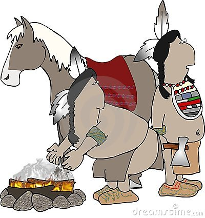 Two Indians and a horse