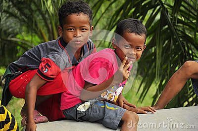 Two indigenous boys, Malaysia Editorial Photo