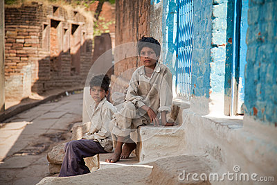Two innocent  indian villager child Editorial Image