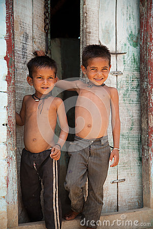 Two innocent  indian villager child Editorial Stock Image