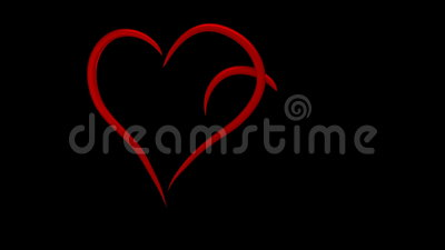 Two interlinked hearts drawn in red lines 3d animation, 4k 60fps. Two interlinked hearts drawn in red lines, 3d animation, with alpha matte, 4k 60fps vector illustration