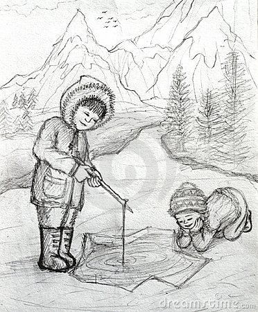 Two Inuit Children Fishing on Ice