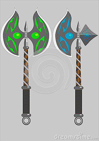 Two isolated battle axes