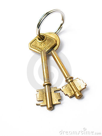 Two isolated gold keys