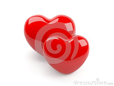 Two isolated red heart