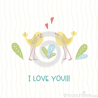 Free Two Ittle Cartoon Birds, Leaves And Handwritten Inscription I Love You. Stock Photos - 123761033
