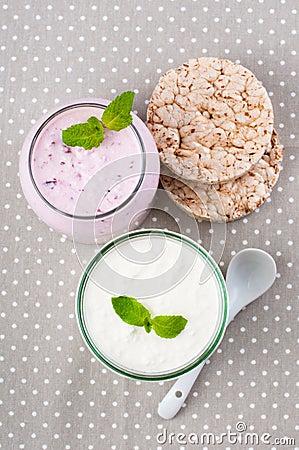 Two jars of yogurt cream