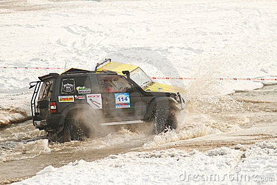 Two jeeps collided in the water at the races Editorial Photo