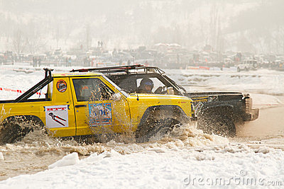Two jeeps collided in the water at the races Editorial Photography