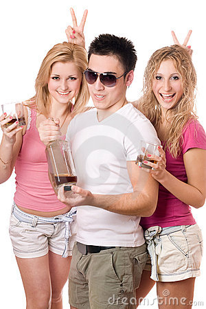 Two joyful blonde woman and young man
