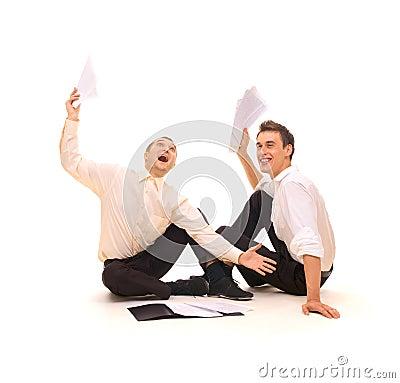 Two joyful businessmen