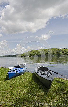 Two Kayaks on Shoreline