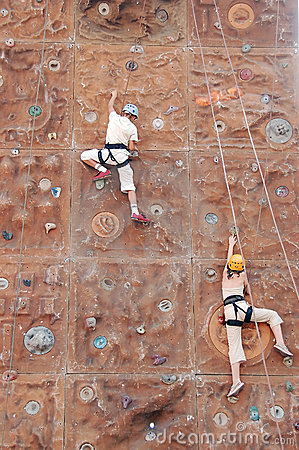 Two kid climbers