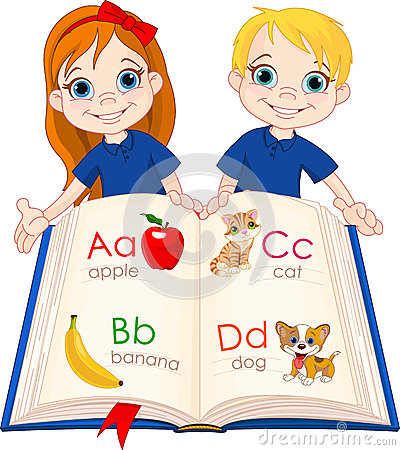 Two kids and ABC book