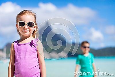 Two kids on Bora Bora