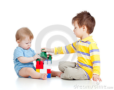 Two kids brothers play together