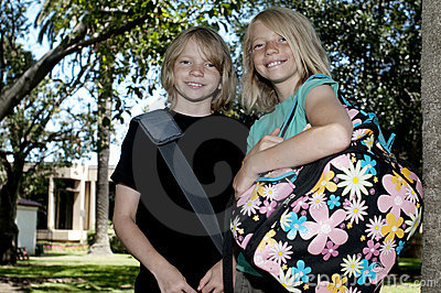 Two Kids on First Day of School