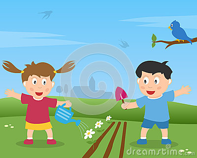 Two Kids Gardening