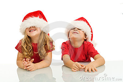 Two kids having fun at christmas time