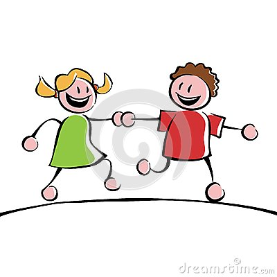 Two kids holding hands