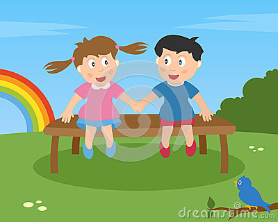 Two Kids in Love on a Bench