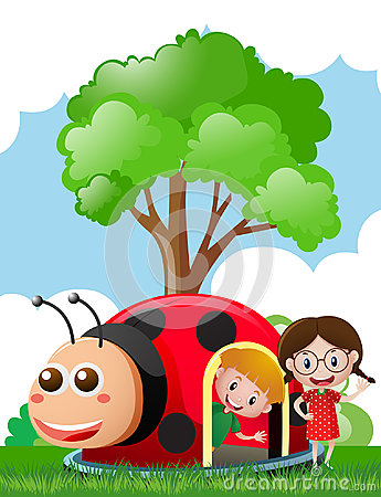 Free Two Kids Playing In Ladybug House Royalty Free Stock Photography - 95826057