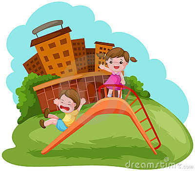 Two kids playing on the slide