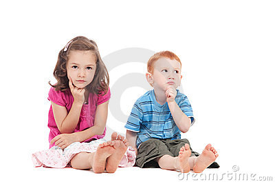 Two kids thinking