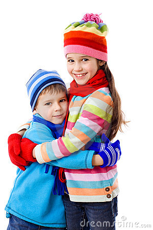 Two kids in winter clothes