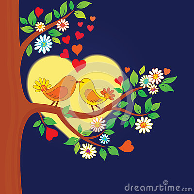 Two kissing birds on the tree