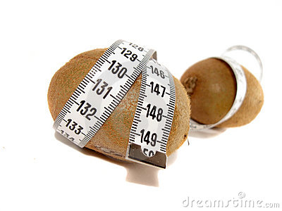 Two kiwi wrapped with measuring tape