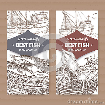 Two labels with fishing boat, fish and seafood basket on white background. Vector Illustration