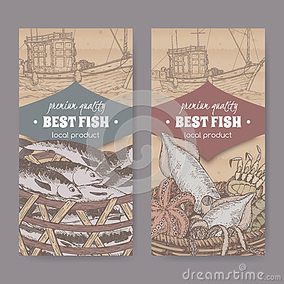 Two labels with old fishing boat, color fish and seafood basket on cardboard. Vector Illustration