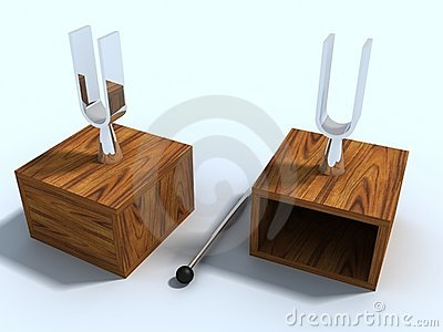 Two laboratory tuning forks