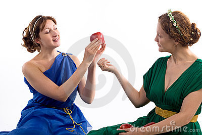 Two ladies and apples