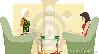 Two ladies sitting and talking