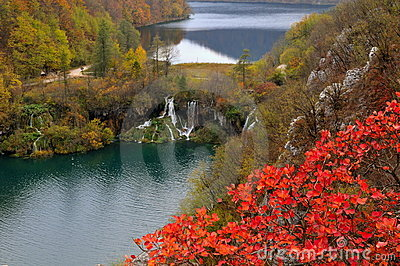 Two lakes and waterfalls in Plitvice National Park