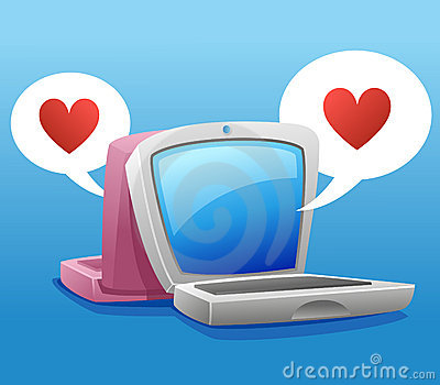 Two laptop and heart symbol