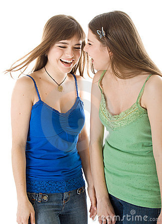 Two laugh teenage girls