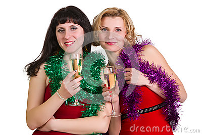 Two laughing women at party