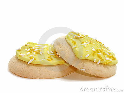 Two Lemon Frosted & Sprinkled Sugar Cookies