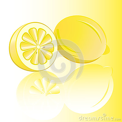 Two lemons with reflection.