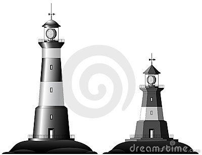 Two Lighthouses - isolated on white