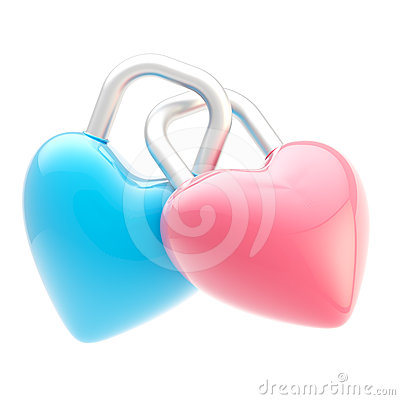 Two linked heart shaped locks isolated
