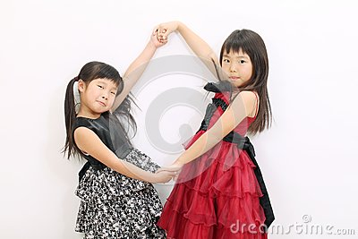 Two little asian girl