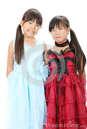 Two little asian girls