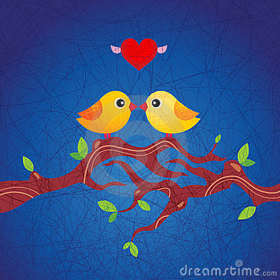 Two little birds in love