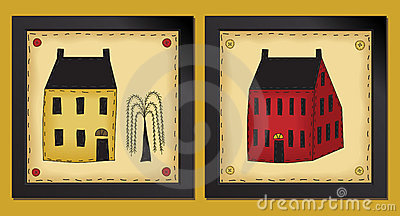 Two Little Folk Art Houses